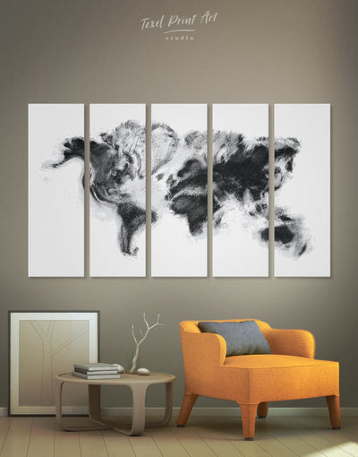 5 Panels Extraordinary World Map Wall Art Canvas Print - 5 panels Abstract Abstract map bedroom Black