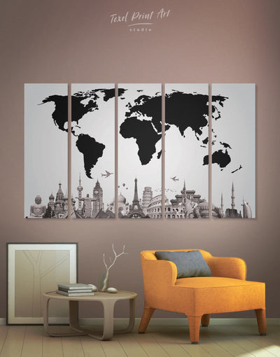 5 Panels Famous Places World Map Wall Art Canvas Print - 5 panels Abstract map black Black and white world map corkboard