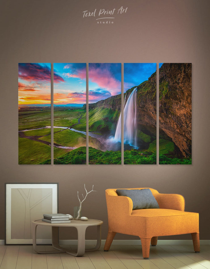 5 Panels Fascinating Iceland Waterfall Wall Art Canvas Print - 5 panels bedroom Hallway landscape wall art Living Room