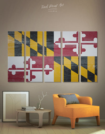 5 Panels Flag of Maryland State Wall Art Canvas Print - Canvas Wall Art 5 panels flag wall art Hallway Living Room Office Wall Art