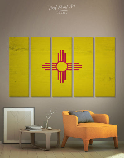 5 Panels Flag of New Mexico State Wall Art Canvas Print - Canvas Wall Art 5 panels flag wall art Hallway Living Room Office Wall Art