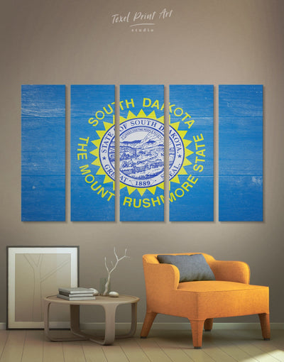 5 Panels Flag of South Dakota Wall Art Canvas Print - 5 panels blue flag wall art Hallway Living Room