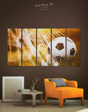 5 Panels Football Wall Art Canvas Print