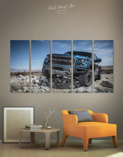 5 Panels Ford F-150 Raptor Car Wall Art Canvas Print - 5 panels bachelor pad Car garage wall art Hallway