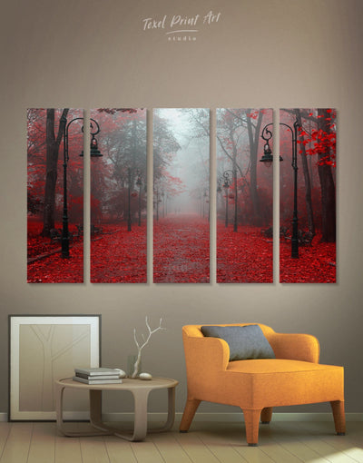 5 Panels Forest Wall Art Canvas Print - 5 panels bedroom forest wall art Hallway landscape wall art