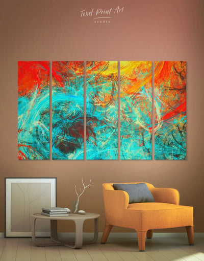 5 Panels Fractal Wall Art Canvas Print - 5 panels Abstract Blue Abstract Wall art Bright colored Contemporary