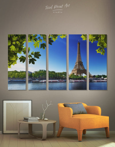 5 Panels French City Paris Wall Art Canvas Print - 5 panels bedroom Cityscape eiffel tower wall art french wall art