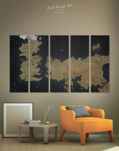 5 Panels Game of Thrones Wall Art Canvas Print - 5 panels bedroom Black Brown Game of Thrones