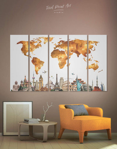 5 Panels Geometric Gold Map Wall Art Canvas Print - 5 panels Abstract Abstract map bedroom contemporary wall art