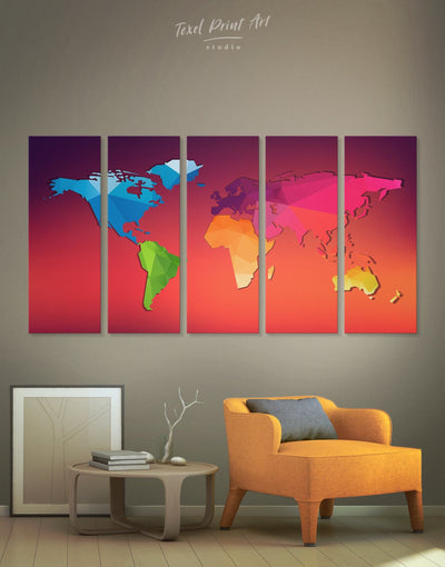 5 Panels Geometric Map Wall Art Canvas Print - 5 panels Abstract Abstract map bedroom Kids room