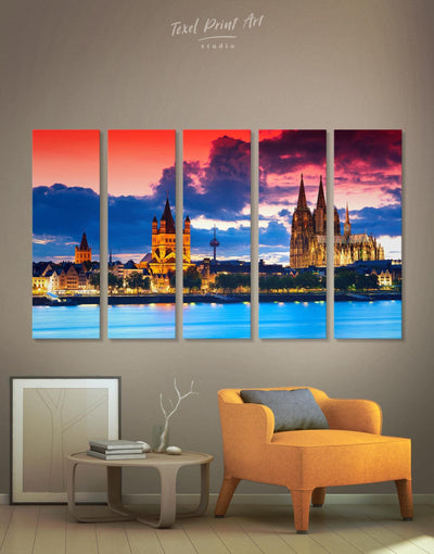 5 Panels Germany Cityscape Wall Art Canvas Print - Canvas Wall Art 5 panels bedroom City Skyline Wall Art Cityscape Hallway