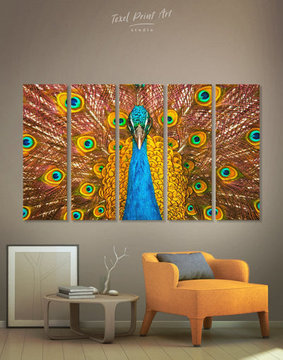 5 Panels Gold Peacock Wall Art Canvas Print - 5 panels Animal bedroom bird wall art Dining room