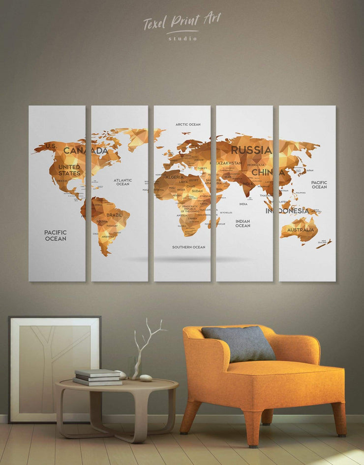 5 Panels Golden Abstract Map Wall Art Canvas Print - 5 panels Abstract Abstract map abstract world map wall art bedroom