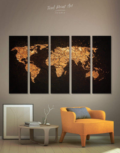5 Panels Golden Abstract Map Wall Art Canvas Print - 5 panels Abstract map bedroom black black and gold wall art