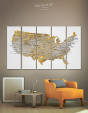 5 Panels Golden USA Map Wall Art Canvas Print