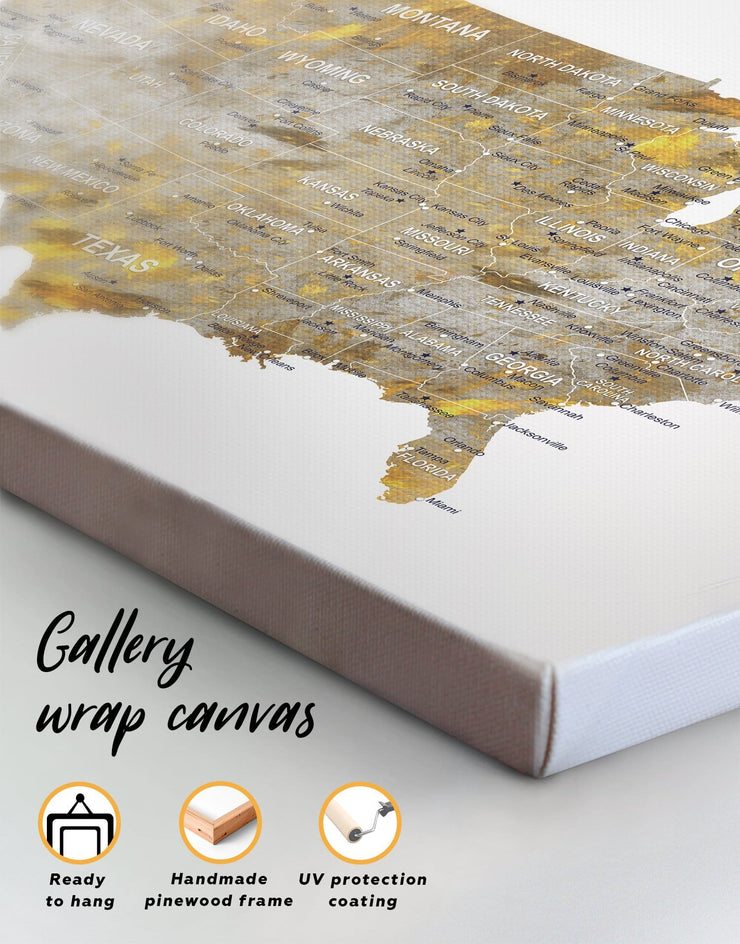5 Panels Golden USA Map Wall Art Canvas Print - 5 panels bedroom Gilded world map wall art Gold Grey