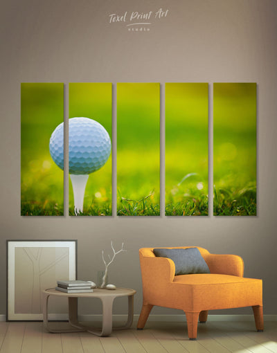 5 Panels Golf Wall Art Canvas Print - 5 panels bachelor pad bedroom green Hallway