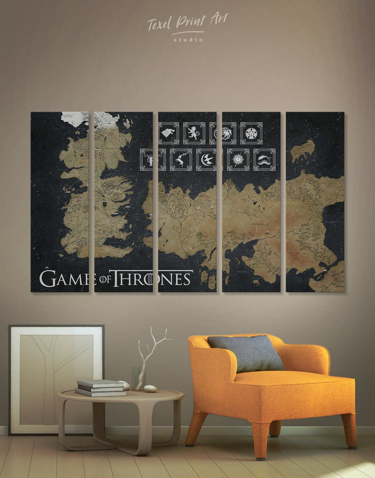 5 Panels GOT Westeros Map with Houses Sigil Wall Art Canvas Print - 5 panels bedroom black and gold wall art Game of Thrones Library