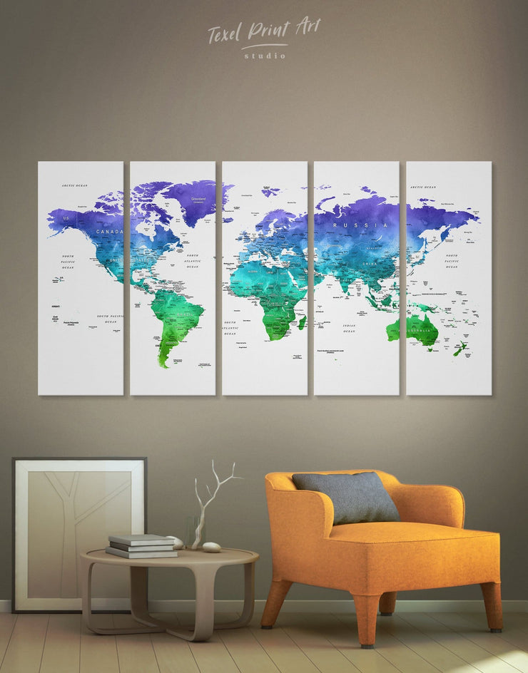 5 Panels Green and Blue World Map Wall Art Canvas Print - 5 panels bedroom Blue blue wall art for bedroom Blue wall art for living room