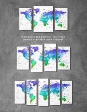 5 Panels Green and Blue World Map Wall Art Canvas Print