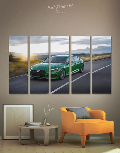 5 Panels Green Audi RS5 Wall Art Canvas Print - 5 panels bachelor pad Car garage wall art wall art for men