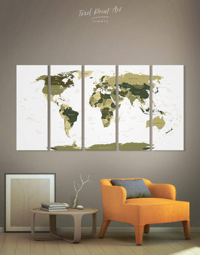 5 Panels Green Travel Map Wall Art Canvas Print - 5 panels Green Living Room Office Wall Art Pushpin Travel Map
