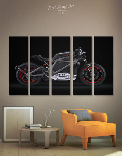 5 Panels Harley-Davidsons Motorcycle Wall Art Canvas Print - Canvas Wall Art 5 panels bachelor pad bedroom black Hallway