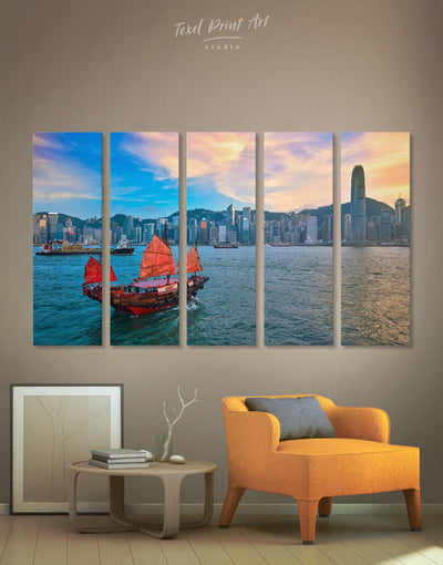 5 Panels Hong Kong Skyline Wall Art Canvas - Canvas Wall Art 5 panels bedroom City Skyline Wall Art Cityscape Hallway