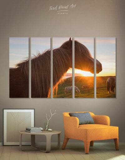 5 Panels Horse and Sunset Wall Art Canvas Print - Canvas Wall Art 5 panels Animal Animals Hallway horse wall art
