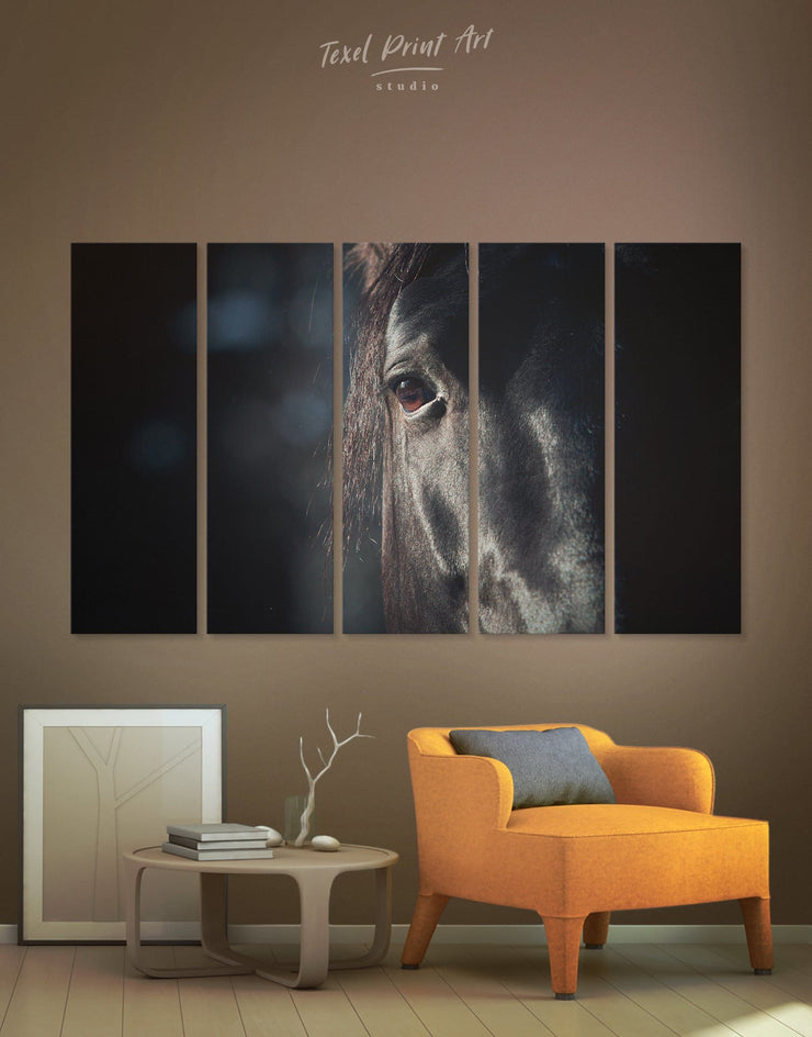 5 Panels Horse in Close Up Wall Art Canvas Print - 5 panels Animal bedroom black and white wall art Farmhouse