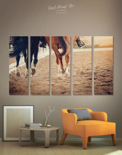 5 Panels Horse Racing Wall Art Canvas Print - Canvas Wall Art 5 panels Animal Animals Hallway horse wall art