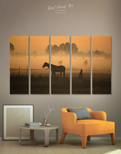 5 Panels Horse Wall Art Canvas Print - 5 panels Animal Animals Brown Farmhouse