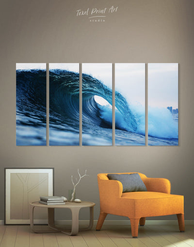 5 Panels Huge Wave Art Canvas Print - 5 panels bedroom Blue blue wall art for bedroom Blue wall art for living room