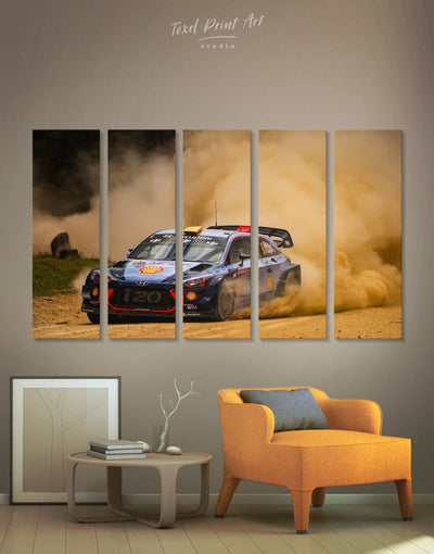 5 Panels Hyundai i20 WRC Wall Art Canvas Print - 5 panels bachelor pad Car garage wall art wall art for men