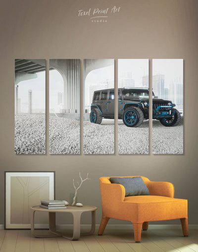 5 Panels Jeep Wrangler Wall Art Canvas Print - 5 panels bachelor pad Car garage wall art Grey