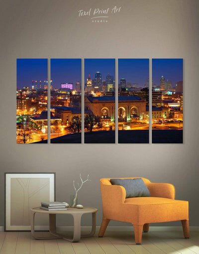 5 Panels Kansas City Skyline Canvas Wall Art - Canvas Wall Art 5 panels