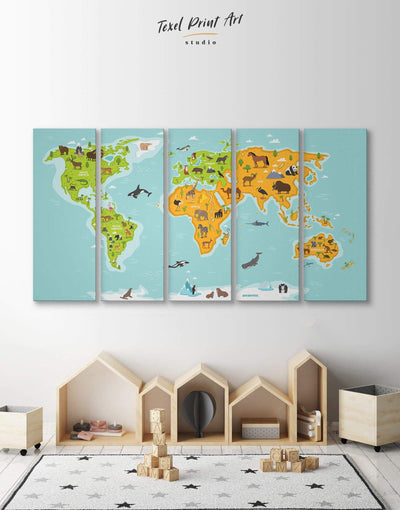 5 Panels Kids World Map Wall Art Canvas Print - 5 panels bedroom blue game room green