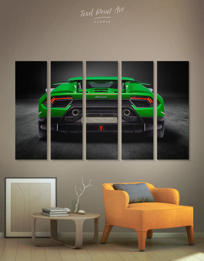 5 Panels Lamborghini Huracan Performante Wall Art Canvas Print - 5 panels bachelor pad Car garage wall art Green