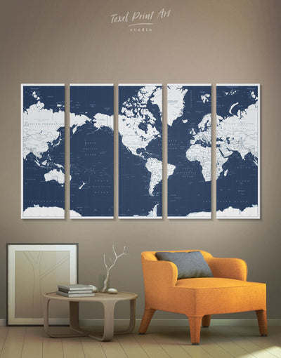 5 Panels Large World Map Wall Art Canvas Print - 5 panels bedroom Blue blue and white Blue Wall Art