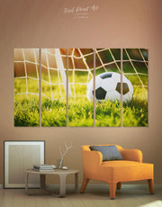5 Panels Leather Football Ball Wall Art Canvas Print