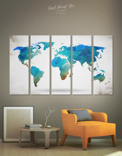 5 Panels Light Blue World Map Wall Art Canvas Print - 5 panels Abstract Abstract map abstract world map wall art bedroom