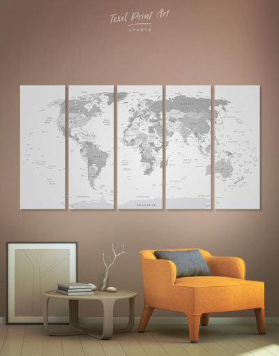 5 Panels Light Grey World Map Wall Art Canvas Print - 5 panels Grey grey bedroom wall art Living Room Office Wall Art
