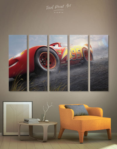 5 Panels Lightning McQueen Wall Art Canvas Print - 5 panels bedroom Car disney Kids room