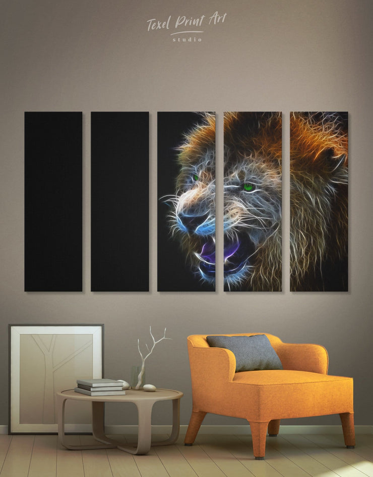 5 Panels Lion Stylized Wall Art Canvas Print - 5 panels Animal Animals bedroom Black