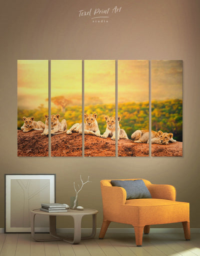 5 Panels Lions Wall Art Canvas Print - 5 panels Animal Animals bedroom lion wall art