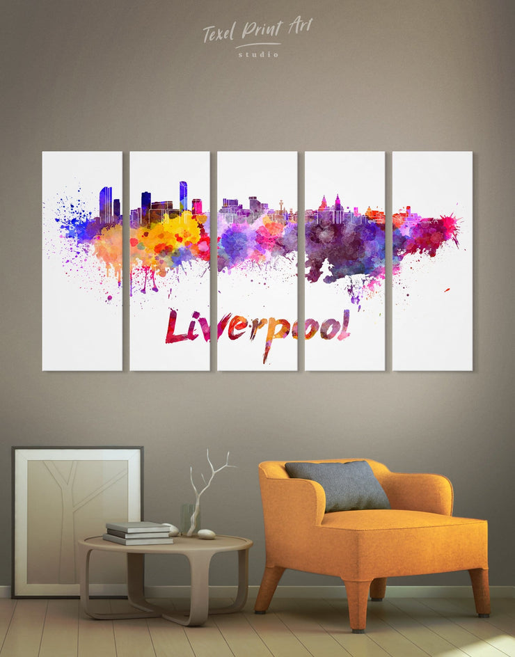 5 Panels Liverpool Skyline Canvas Wall Art - Canvas Wall Art 5 panels Abstract bedroom City Skyline Wall Art Cityscape
