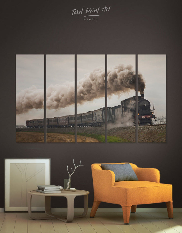 5 Panels Locomotive Wall Art Canvas Print - 5 panels Living Room living room wall art Playroom Teens