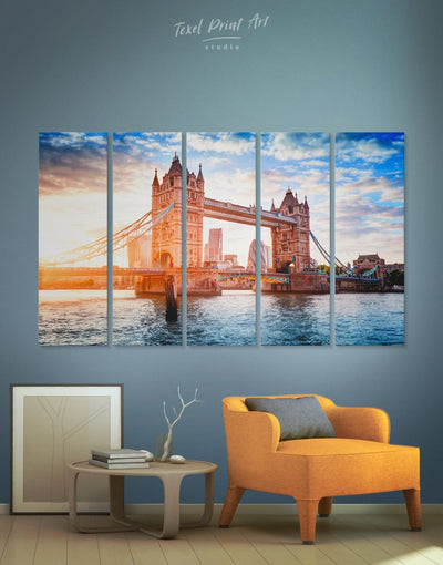 5 Panels London Architecture Wall Art Canvas Print - 5 panels Architectural Wall Art bedroom Blue Bridge