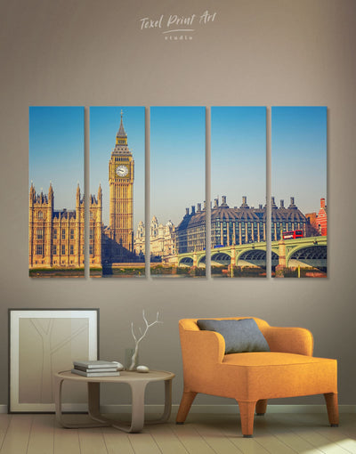 5 Panels London City Wall Art Canvas Print - 5 panels bedroom City Skyline Wall Art Cityscape Dining room