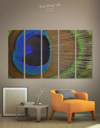 5 Panels Macro Peacock Feather Wall Art Canvas Print - 5 panels Abstract bedroom bird wall art blue and green wall art